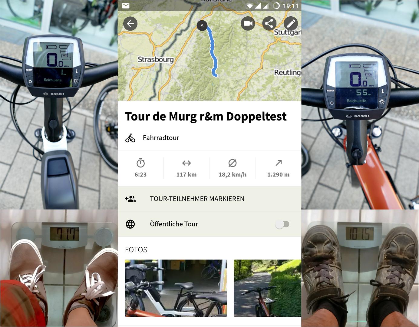 Tour de Murg komoot Aufzeichnung und restreichweiten der Testbikes