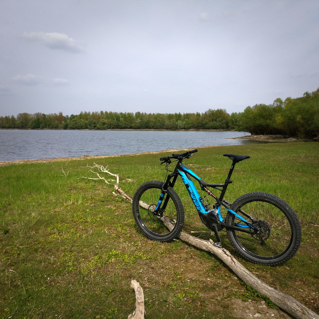 Specialized Turbo Levo FSR 6Fattie am Strand eines Natursees
