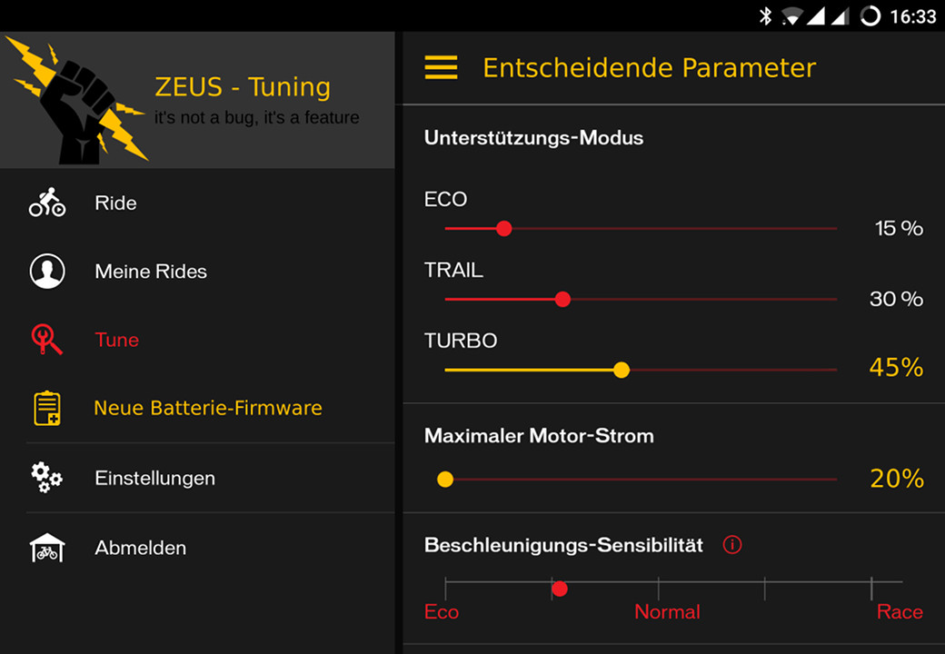 ZEUS Parameter in der Specialized App fürs Turbo Levo