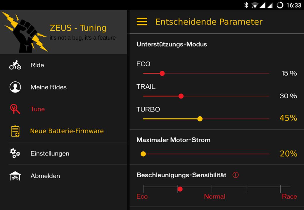 Specialized Turbo Levo ZEUS Einstellungen in der App