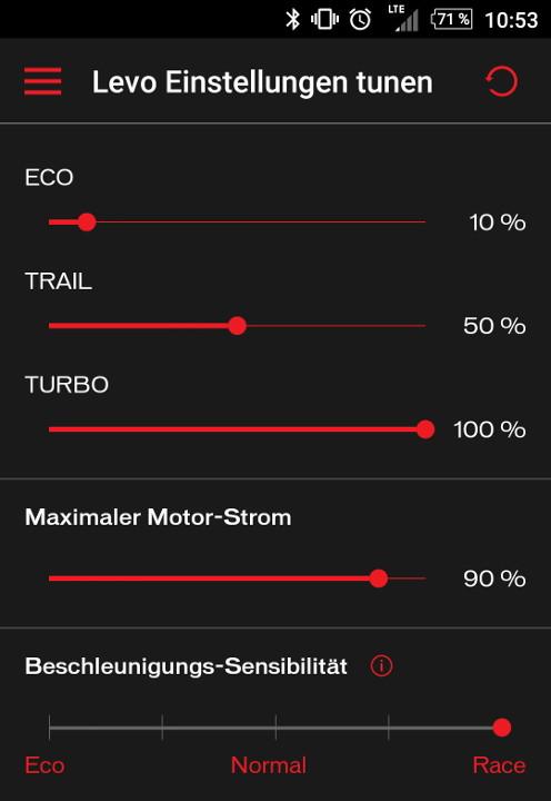 Turbo Levo Mission Control App Einstellungen
